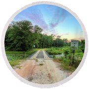 Round Beach Towel featuring the photograph Country Living Sunrise by JC Findley