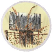 Country Mailbox In Colored Pencil Round Beach Towel