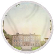 Country Mansion At Sunset Round Beach Towel