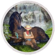 Country Memories 1 Round Beach Towel