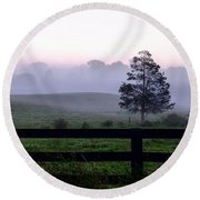Country Morning Fog Round Beach Towel