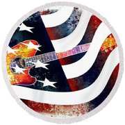 Round Beach Towel featuring the photograph Country Music Guitar And American Flag by Annie Zeno