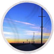 Round Beach Towel featuring the photograph Country Open Road Sunset - Blue Sky by Matt Harang