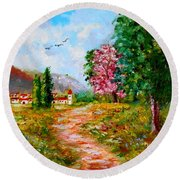 Country Pathway In Greece Round Beach Towel