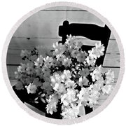 Country Porch In B And W Round Beach Towel by Sherry Hallemeier