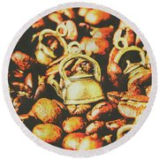 Country Pots And Coffee Beans Round Beach Towel