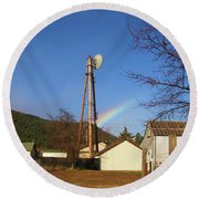Round Beach Towel featuring the photograph Country Rainbow by Mary Ellen Frazee