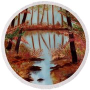 Round Beach Towel featuring the painting Country Reflections by Leslie Allen