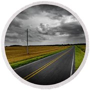 Country Road Round Beach Towel by Brian Jones