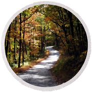 Round Beach Towel featuring the photograph Country Road by David Dehner