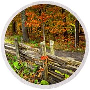 Country Road In Autumn Forest Round Beach Towel