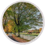 Country Road In Rural Maryland During Autumn Round Beach Towel