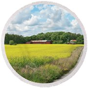 Country Road In Yellow Meadow Round Beach Towel