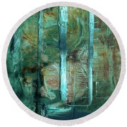 Country Roads - Abstract Landscape Painting Round Beach Towel