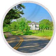 Country Roads Of America, Smith Mountain Lake, Va. Round Beach Towel