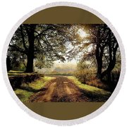 Country Roads Round Beach Towel by Ronda Ryan