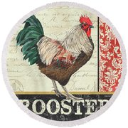 Round Beach Towel featuring the painting Country Rooster 1 by Debbie DeWitt