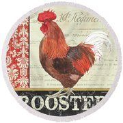 Round Beach Towel featuring the painting Country Rooster 2 by Debbie DeWitt