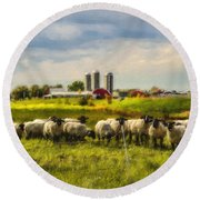 Country Sheep Round Beach Towel by Ken Morris