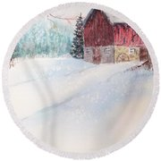 Country Snowscape Round Beach Towel