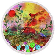 Country Sunrise Round Beach Towel by Donna Blackhall