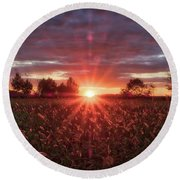Round Beach Towel featuring the photograph Country Sunset by Mark Dodd