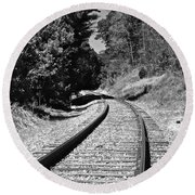 Country Tracks Black And White Round Beach Towel