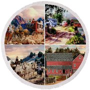 Country Western Gallery Round Beach Towel