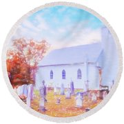 Country White Church And Old Cemetery. Round Beach Towel