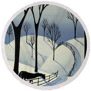 Country Winter Road - Horse Snow Folk Art Round Beach Towel