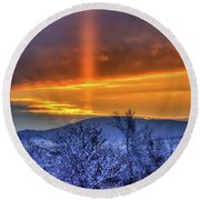 Round Beach Towel featuring the photograph Country Winter Sun Pillar by Fiskr Larsen