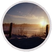 Country Winter Sunset Round Beach Towel