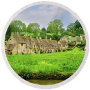 Countryside Cottages Round Beach Towel