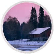 Countryside Full Moon Scenery Round Beach Towel