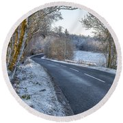 Countryside Road In Central Scotland Round Beach Towel