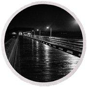 Coupeville Wharf On A Rainy Night Round Beach Towel