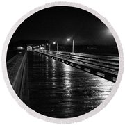 Coupeville Wharf On A Rainy Night Round Beach Towel