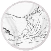 Couple In Bed Round Beach Towel
