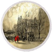 Round Beach Towel featuring the painting Couple In City by Tithi Luadthong