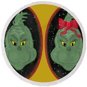 Couple Of Grinches Round Beach Towel