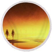 Couple Of Women Walking On Beach Round Beach Towel