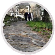 Couple On A Garden Path Round Beach Towel