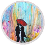 Couple On A Rainy Date Romantic Painting For Valentine Round Beach Towel