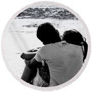 Couple On Beach Round Beach Towel