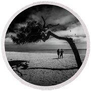 Round Beach Towel featuring the photograph Couple On Cabrillo Beach By Los Angeles California by Randall Nyhof