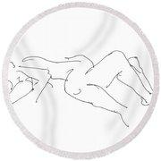 Couples Erotic Art 4 Round Beach Towel