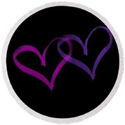 Couples Hearts Round Beach Towel