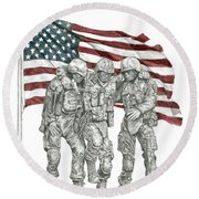 Courage In Brotherhood Round Beach Towel