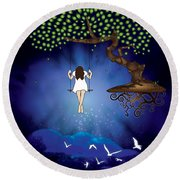 Dreamscape Round Beach Towel by Serena King