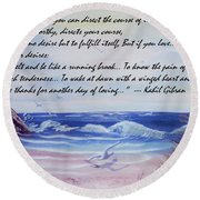 Round Beach Towel featuring the painting Course Of Love by Denise Fulmer